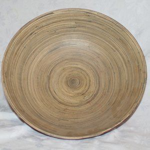 Large wood or bamboo decorative red bowl